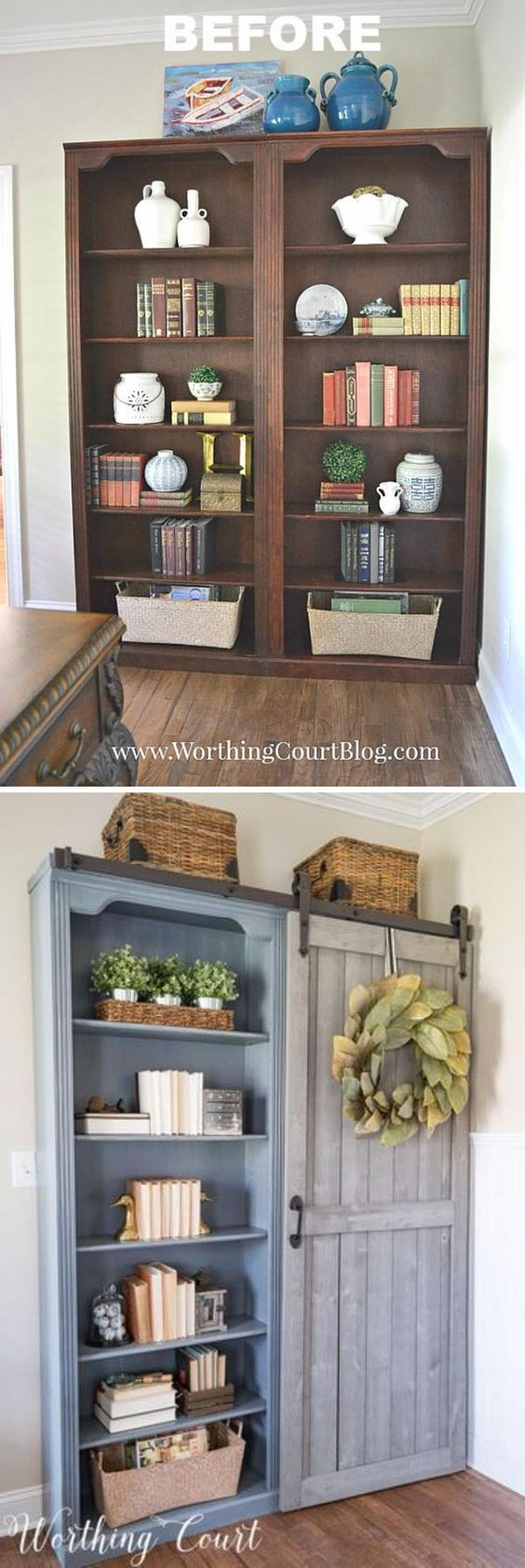 DIY Bookcase Makeover With A Sliding Door.