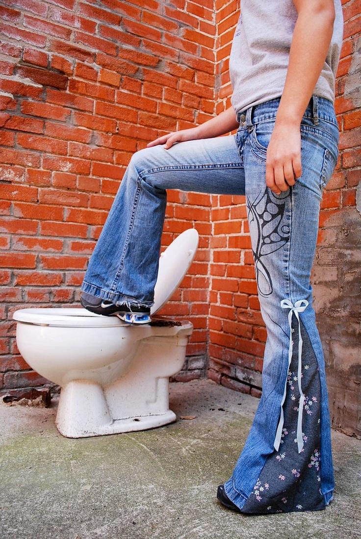 Modern Hippie - Bell Bottom Jeans. $30.00, via Etsy.
