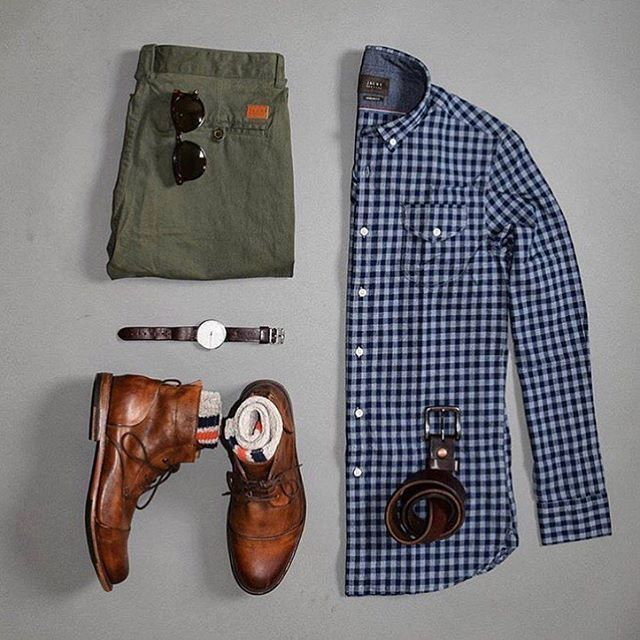 olive green chinos,blue checks, and leather