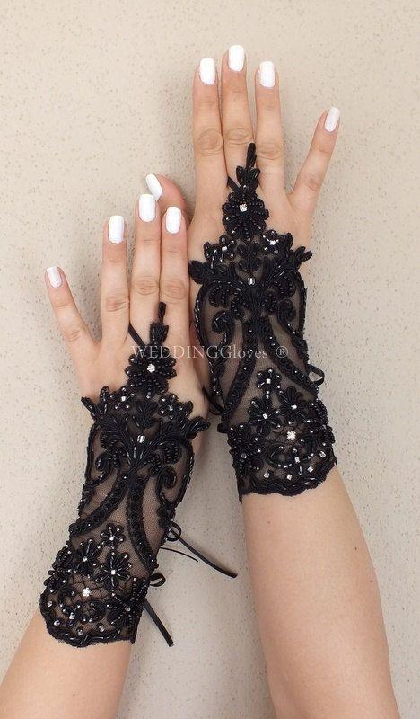 Black Glove gotische Spitze frei Schiff schwarz von WEDDINGGloves, $45.00