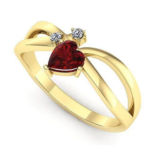 Inel logodna F73GRB * Piatra principala: 1 x rubin, dimensiune: ~4.5mm, forma: heart * Pietre secundare: 2 x diamant, dimensiune: ~1.50mm, greutate totala: ~0.03ct, forma: round * Gramaj: ~2.00gr