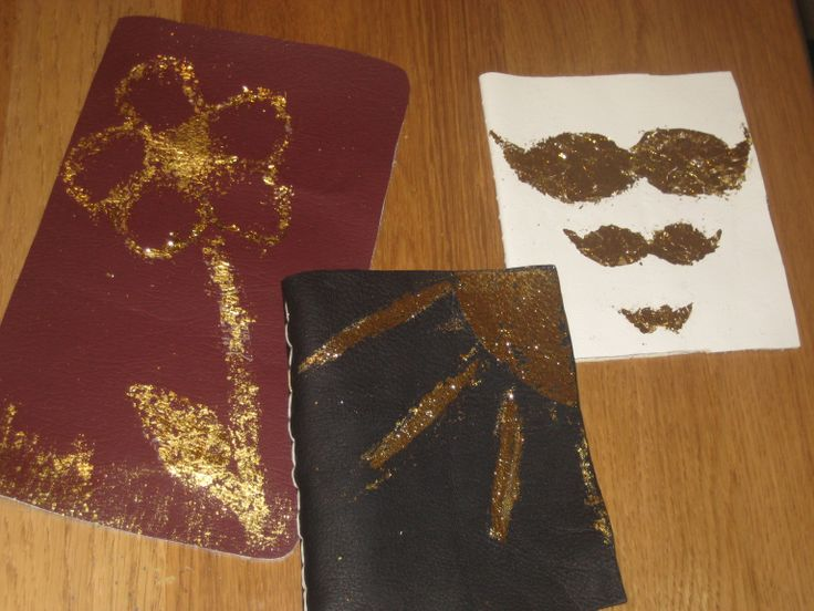 By the Yard in Cheltenham - Make it Mondays Craft. Gold leaf on leather to make simple books
