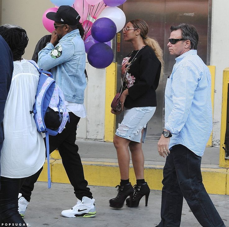 Beyoncé and Jay Z Rock Matching Outfits at a Children's Birthday Party-After their cute basketball date last week, Beyoncé and Jay Z are at it again. On Saturday, the famous duo attended a children's birthday party at Giggles N' Hugs in LA with their daughter, Blue Ivy, in tow. Although there is no word on who the birthday girl or boy was, the event also brought out Beyoncé's BFF Kelly Rowland and actress Ellen Pompeo, who was joined by husband Chris Ivery.