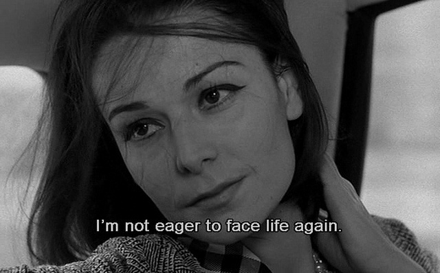 """I'm not eager to face life again. -- """"Le feu follet"""" (1963) Louis Malle"""