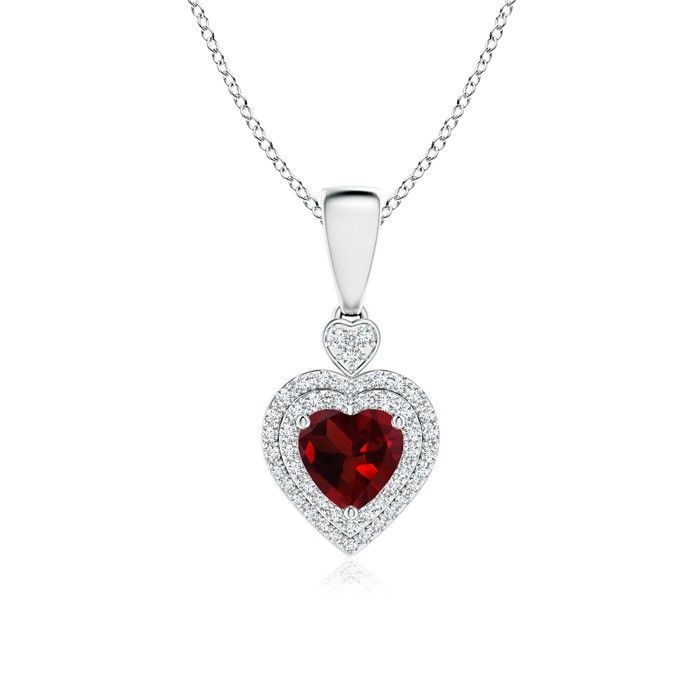 A Heart For A Heart. This Beautiful Double Halo Garnet Heart Necklace Pendant Would Be A Perfect Choice For A January Born.