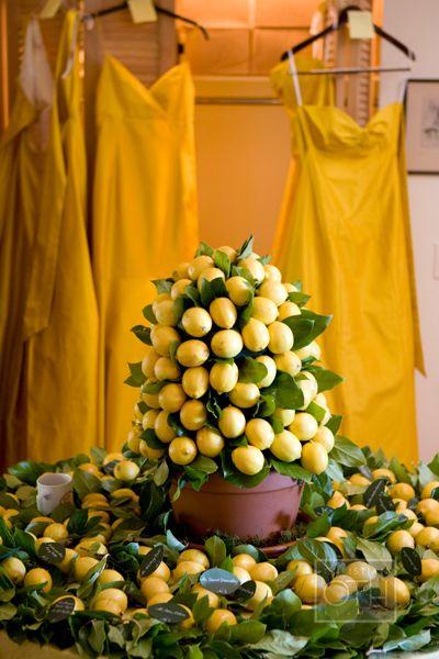 A lemon centerpiece - inspiration for your Alex's Lemonade Stand themed wedding!