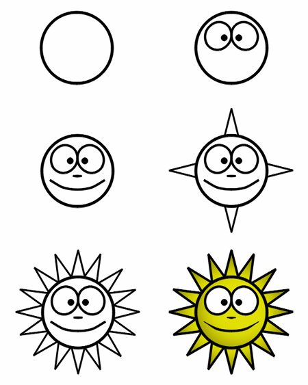 A few circles and a few triangles ... it's all you need to create this smiling cartoon sun! :)