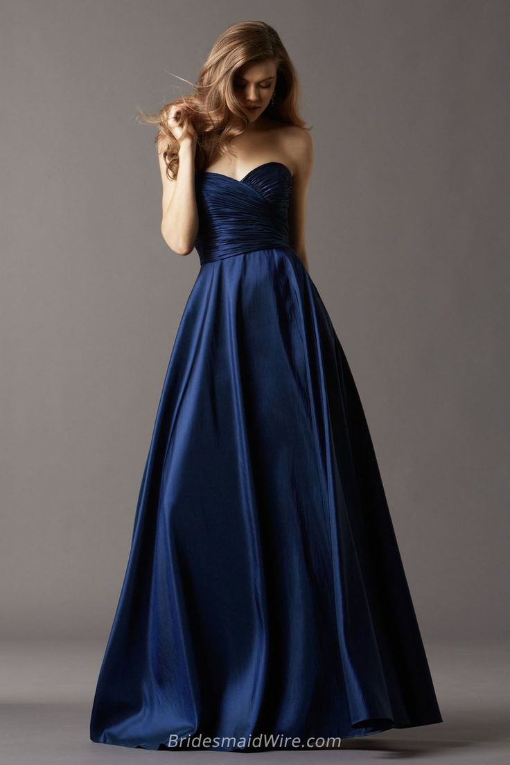 Navy Blue Taffeta Ball Gown Sweetheart Strapless Floor Length Bridesmaid Dress