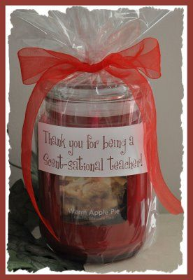 """Wrap a scented candle in cellophane and tie it with a ribbon. Then print the saying, """"Thank you for being a Scent-sational teacher!"""" and attach it to the cellophane with double sided tape."""