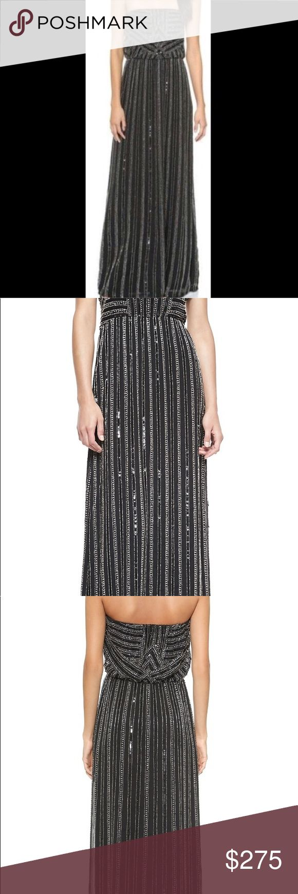 Parker Black Lovey Strapless Beaded Maxi Gown This strapless Parker maxi dress has intricate, beaded stripes, casting a luxurious tone on the elegant silhouette. Gathered elastic cinches the top and waist. 100% silk. Parker Dresses Maxi