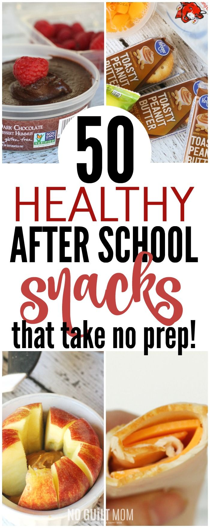 I so need quick and healthy after school snacks for my kids! These 50 ideas need no recipe. Also includes a free printable list of all 50 snacks. This makes afternoons so easy! via @noguiltmom