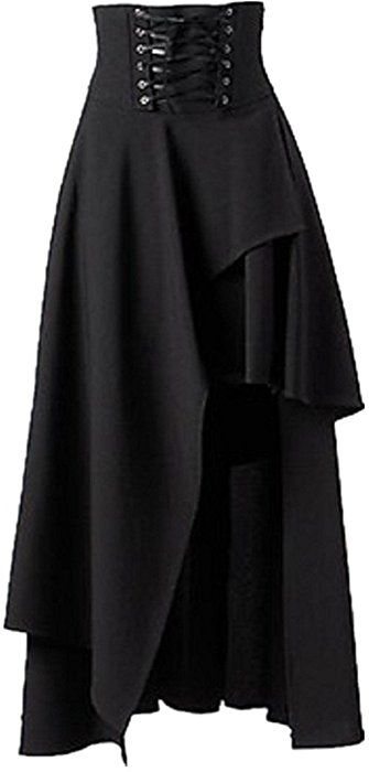 02b7363701 Sorrica Women's Victorian Lolita Skirt Steampunk Vintage Style Skirt (XL,  Black) at Amazon Women's Clothing store: