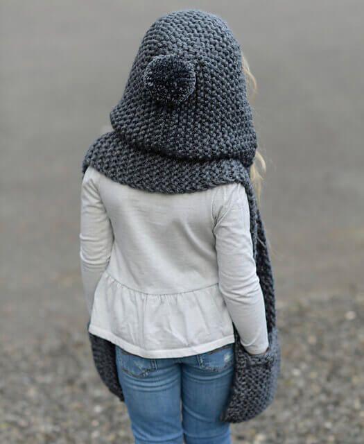 шарф капюшон для девочки спицами мк для меня и других человечков