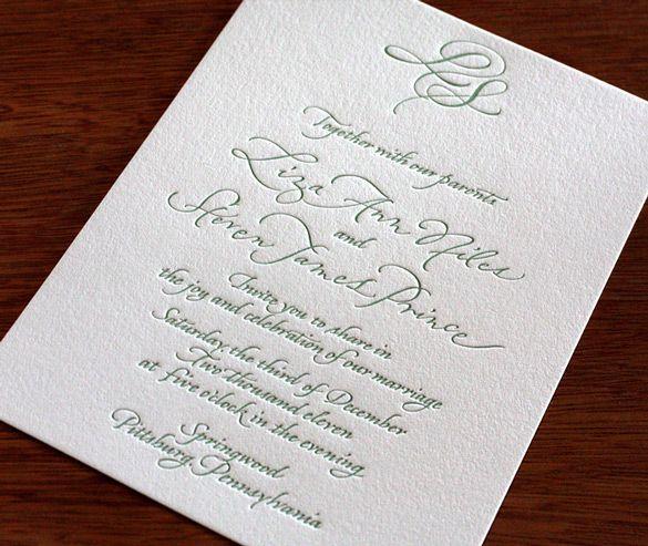 calligraphy letterpress wedding invitation