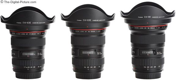 Canon Wide Angle L Series Zoom Lenses with Lens Hoods