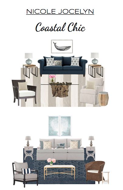 Introducing Nicole Jocelyn Curated Designs.  FREE virtual interior design package that includes mood board, shopping list and rendering. See 3 more of our signature styles at www.nicolejocelyn.com  Coastal chic is  fun, feminine look that plays with nautical accents, natural materials, calm colors, and finishes with a little hint of glam.