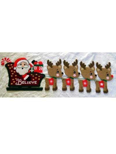 Plastic Canvas - Santa & Reindeer - #REP0274
