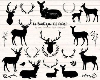 Black Deer Silhouette Clipart, Cute Graphics PNG, Christmas deer head, doe, fawn, antlers, rustic wedding Clip art, Commercial Use