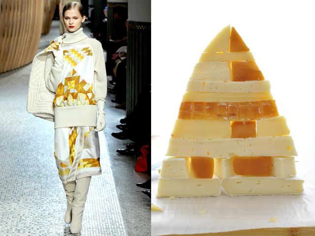 Hermes fw 2011-12 / Pyramid of cheese with honey, mustard and jam