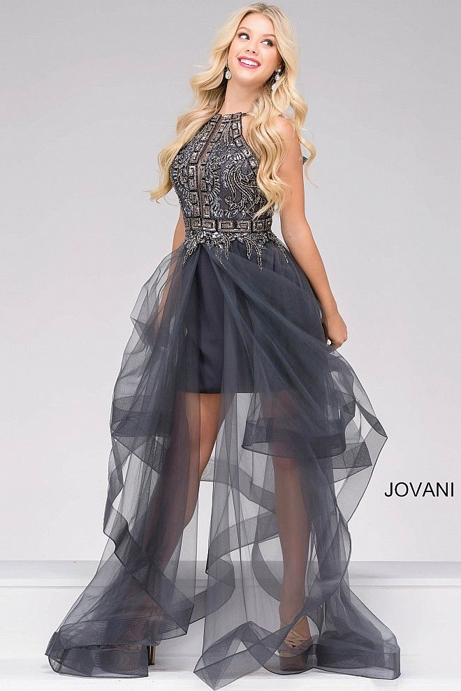 Fitted gunmetal dress features a sleeveless bodice, beaded adornments, a sheer skirt overlay and a hidden zipper down the back.