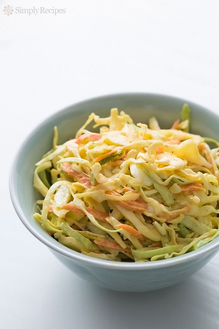 Classic Coleslaw ~ Coleslaw with thinly sliced cabbage, carrots and ...