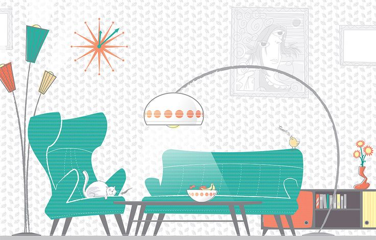 Fifties Living Room for Personal Project - illustration by Tobias Scheel Mikkelsen