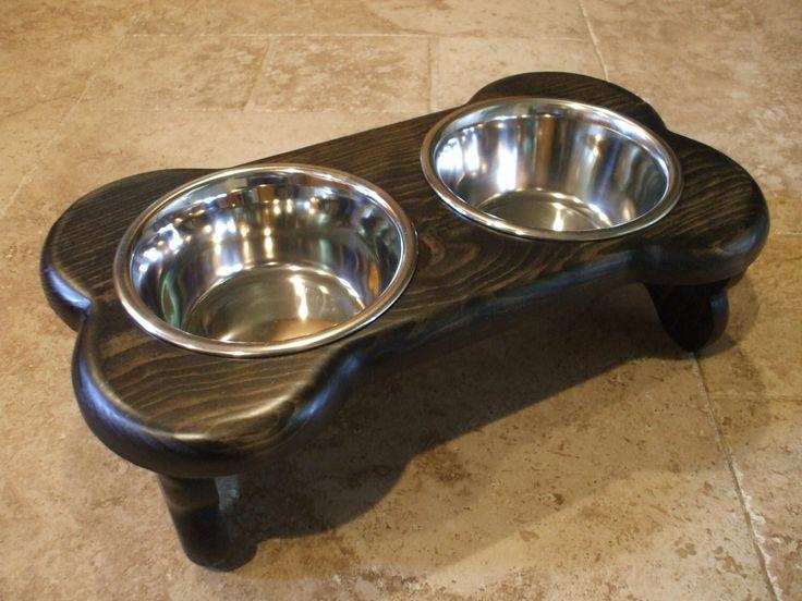 Raised Dog Feeder 1 Pt 4 Inch Double - Bone Design - Elevated Pet Feeder - Raised Dog Bowl - Elevated Dog Bowl - Small Dog Raised Pet Bowls by WoodinYou on Etsy https://www.etsy.com/listing/97893291/raised-dog-feeder-1-pt-4-inch-double