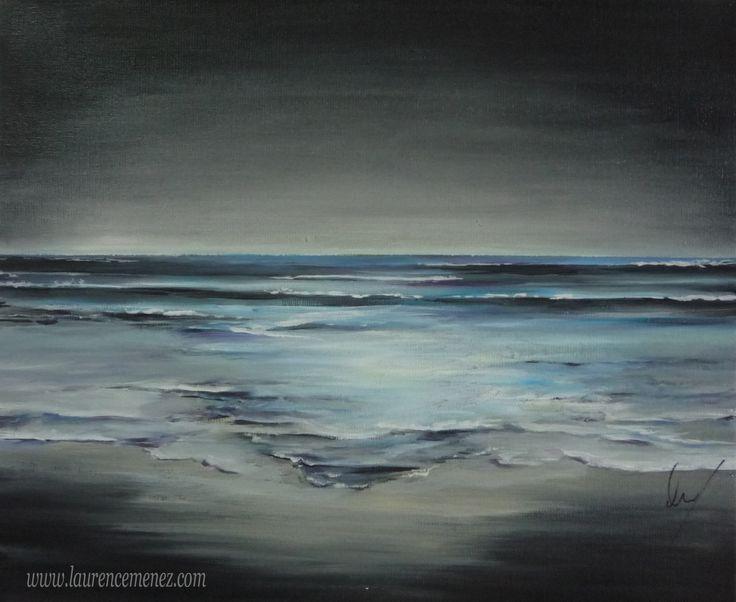 """""""bleu-noir"""" Toile peinte en peinture à l'huile"""