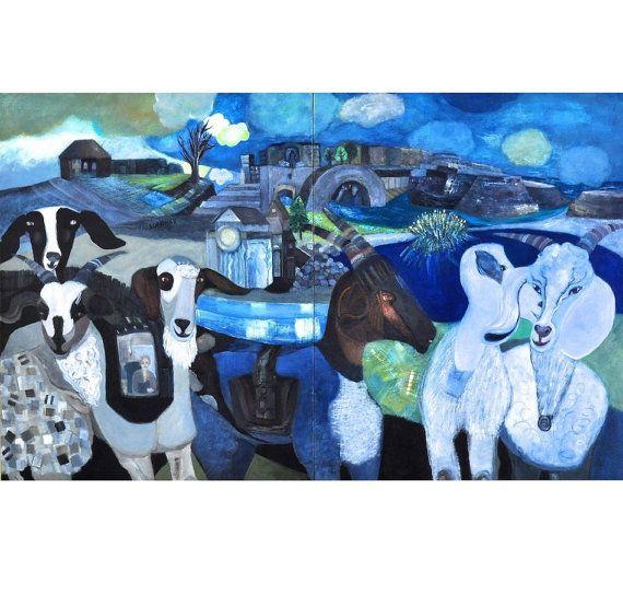 PLAYDATE (Pa's Goats), Original Acrylic Painting by Sandra Longman,  Diptych, 2012