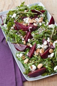 Barefoot Contessa balsamic roasted beet salad. Made this tonight with baby spinach and walnuts, served with a hearty bread.  Great summer meal - loved it!