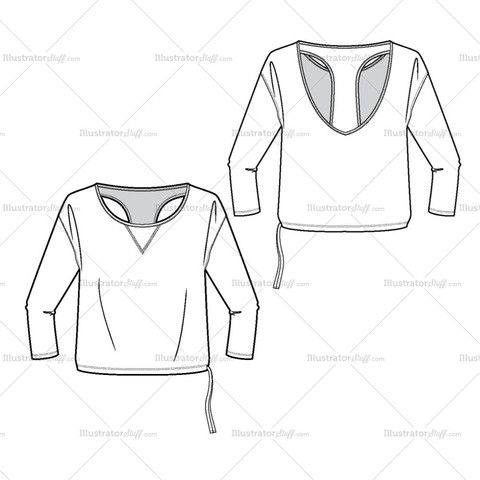 Women's Long Sleeve Loose Tee Fashion Flat Template