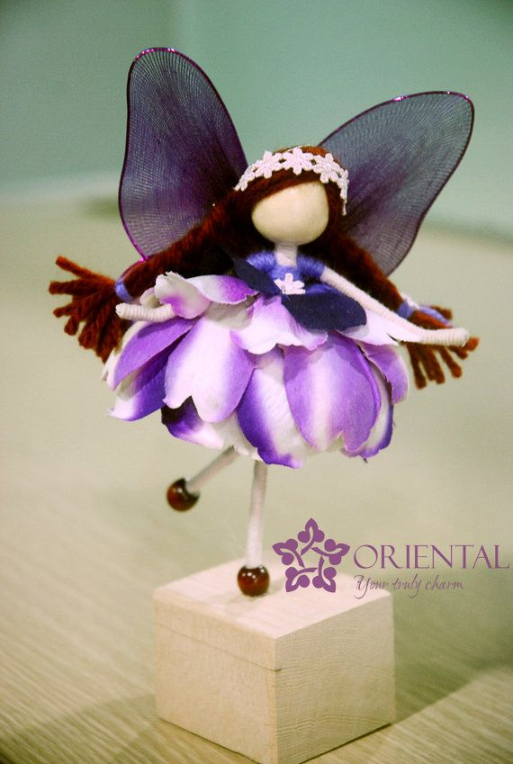 Petal Doll Ornament, Doll Decoration, Purple Petal Doll with hair plaits and white crochet hairband, Flower Petal Doll, Flower Princess