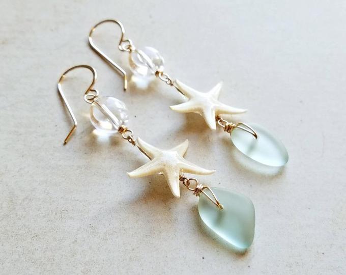 Brincos de Praia Verde Azul, Estrela do Mar Longa Oscila, Brincos de Oscila Cowrie E3090 E3091   – Jewelry