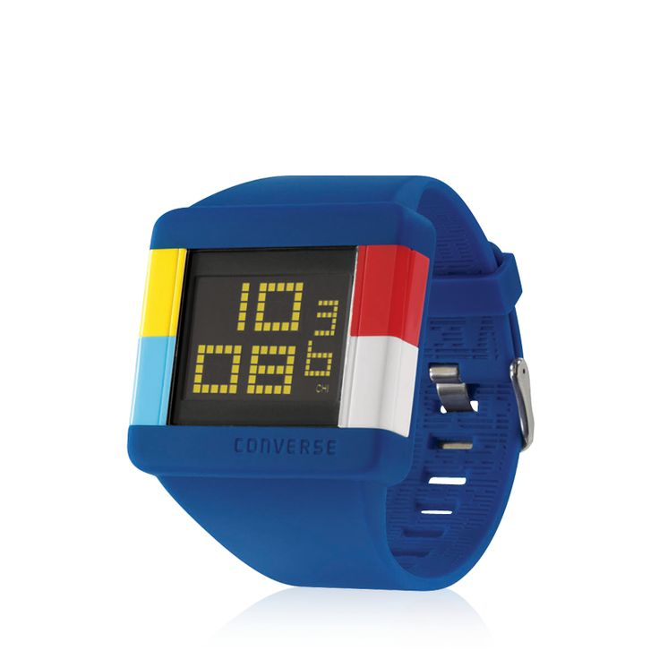 Converse - High Score - Stop watch function, Light, Date, stainless steel screw in case back, Pin buckle. High Score. Video game-inspired stacked digital watch.