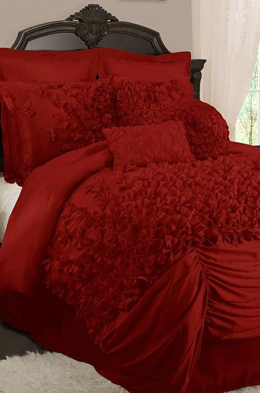 Lovely red layered ruffle comforter set red pinterest ruffle comforter comforter sets and Master bedroom with red bedding