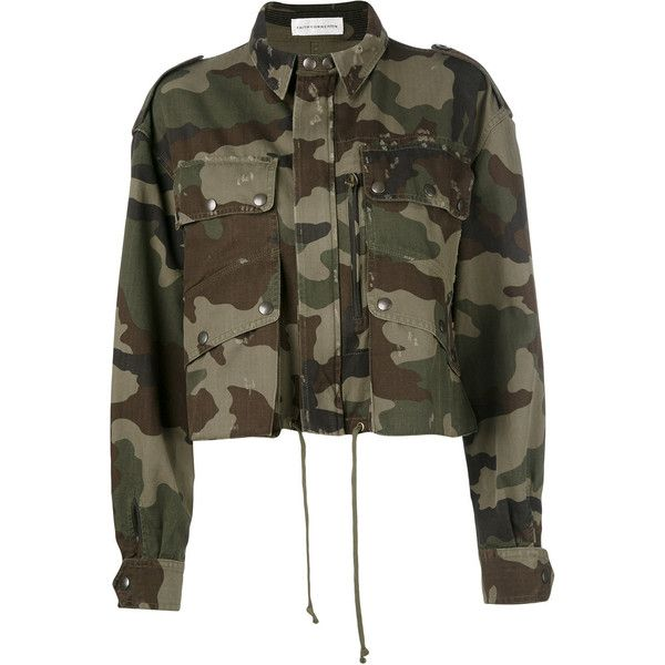 Faith Connexion Camo Short Parka ($810) ❤ liked on Polyvore featuring outerwear, coats, camouflage, camo parka, brown coat, short parka, short parka coat and brown parka