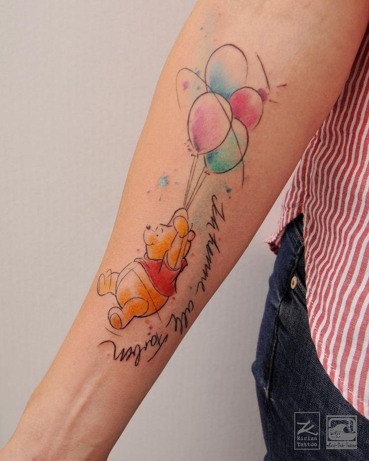 A little Winnie Pooh with his balloons in watercolour-style. #instakiri #winniepooh #winniepoohtattoo #comictattoo