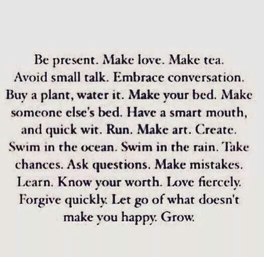 """All of this... except for """"let go of what doesn't make you happy""""... i think that's ridiculous. but the rest of this quote is perfect. AVOID SMALL TALK... yes."""