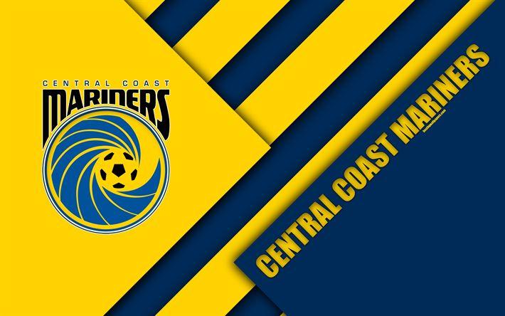 Download wallpapers Central Coast Mariners FC, 4k, Australian Football Club, material design, logo, yellow blue abstraction, A-League, Central Coast, Australia, emblem, football