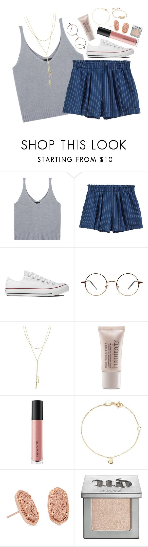 """I'm back"" by beingrach ❤ liked on Polyvore featuring H&M, Converse, Bloomingdale's, Laura Mercier, Bare Escentuals, Estella Bartlett, Kendra Scott and Urban Decay"