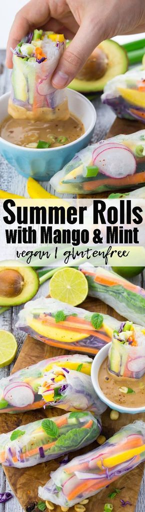 I could eat these summer rolls with mango and mint all year round! They're vegan, gluten-free, and super easy to make! I usually serve them with peanut sauce. SOOOOO GOOD!!!