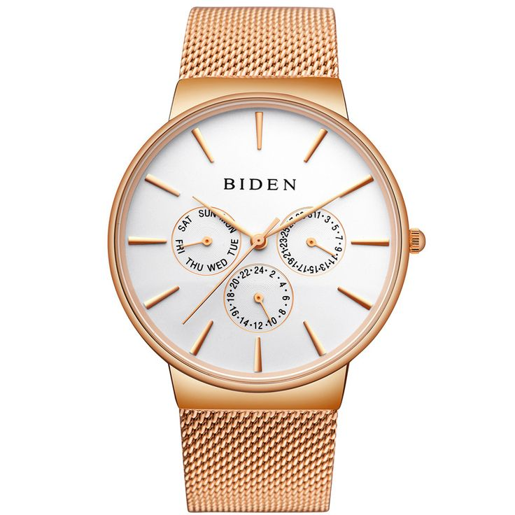 Top Men's Watch Luxury Brand Biden Quartz Watch Men's Fashion Casual Stainless Steel Mesh Watch man Clock