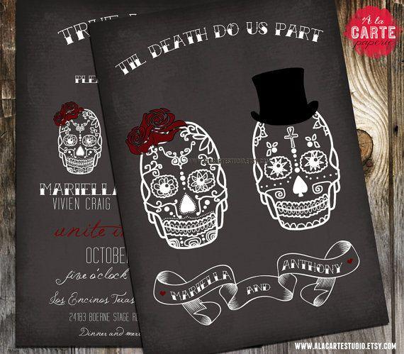 Til Death Do Us Part Chalkboard Inspired Wedding Invitation - Skull Wedding. $15.00, via Etsy.