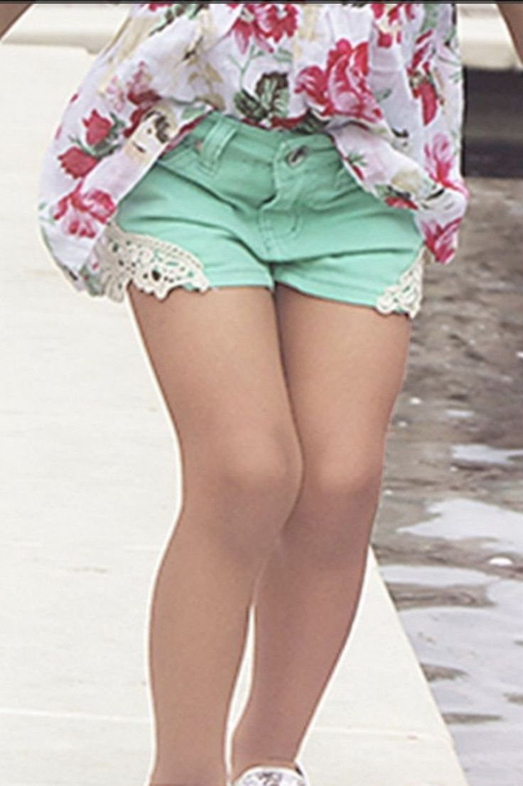 Mint Shorts with Crochet Cutout Accent