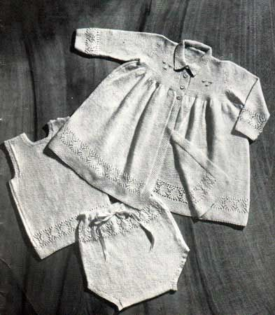 Front cover layette, carrying coat, vest and soakers