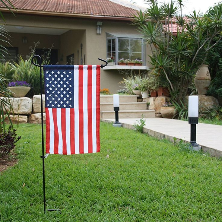 Garden Flag Stand Powder Coated Black Wrought Iron Hanger Lawn Yard Patio Decor Garden Decor #Affiliate