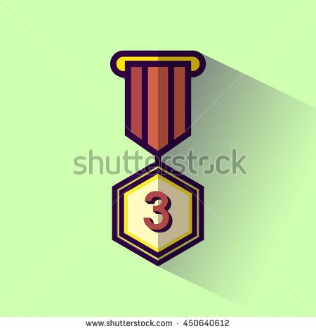 Medallion award 3rd winner flat design icon with long shadow. Vector illustration.