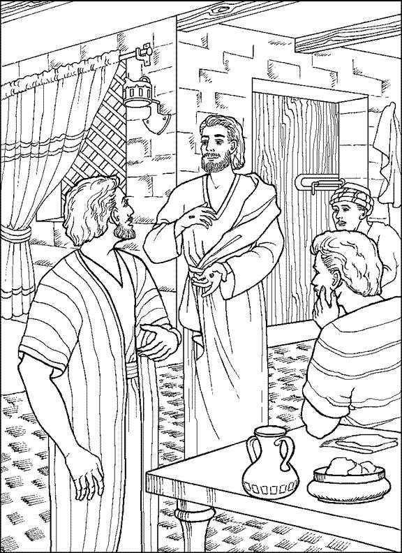 Jesus Appears to Thomas - Coloring Page