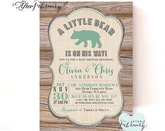 Bear Baby Shower Invitation Baby Boy Shower by AfterFebruary