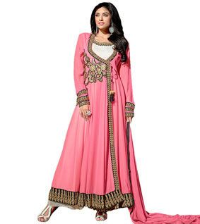 Pink Embroidered Georgette Semi Stitched Anarkali Suit